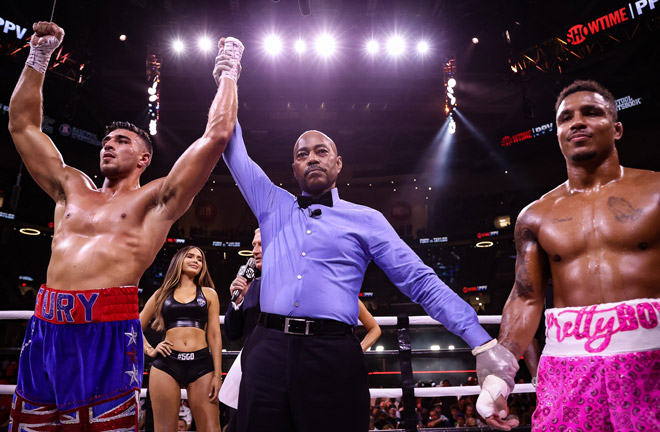 Fury celebrates after his victory over Taylor Photo Credit: Amanda Westcott/SHOWTIME