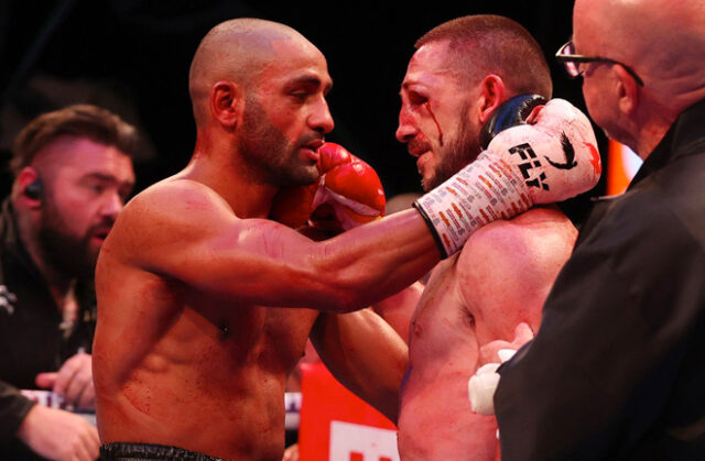 Kid Galahad embraces with James 'Jazza' Dickens after a 11th round stoppage win to claim the vacant IBF Feather title. Photo Credit: Matchroom Boxing.