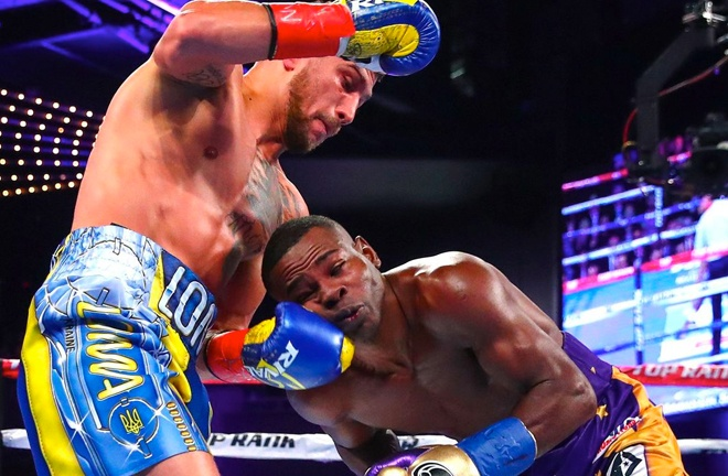 Throwback to when Lomachenko retired Rigondeaux in 2017. Photo Credit: Top Rank.