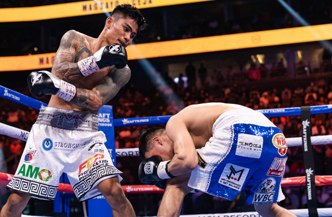 Mark Magsayo scored a stunning tenth round knockout of Julio Ceja Photo Credit: Ryan Hafey/Premier Boxing Champions