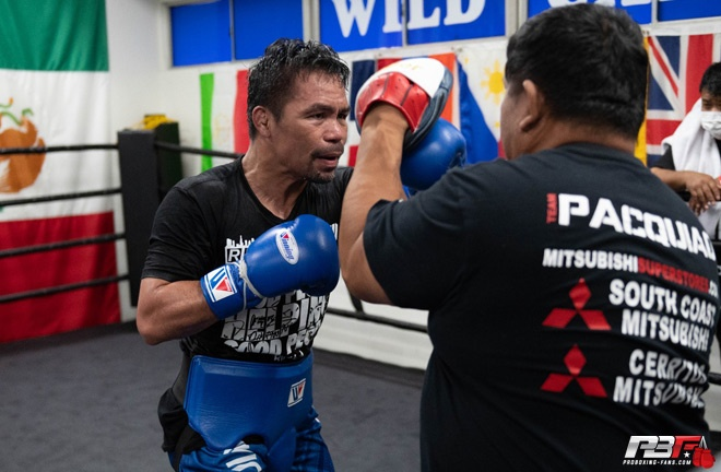 Pacquiao returned to the Wild Card Gym to prepare for his return Photo Credit: Pro Boxing Fans