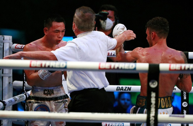 Wood dropped and stopped Can in the final round Photo Credit: Ian Walton/Matchroom Boxing