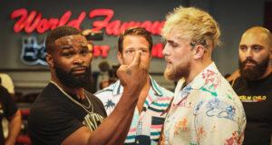 Jake Paul meets ex-UFC welterweight champion, Tyron Woodley in Cleveland on Sunday Photo Credit: Amanda Westcott/SHOWTIME