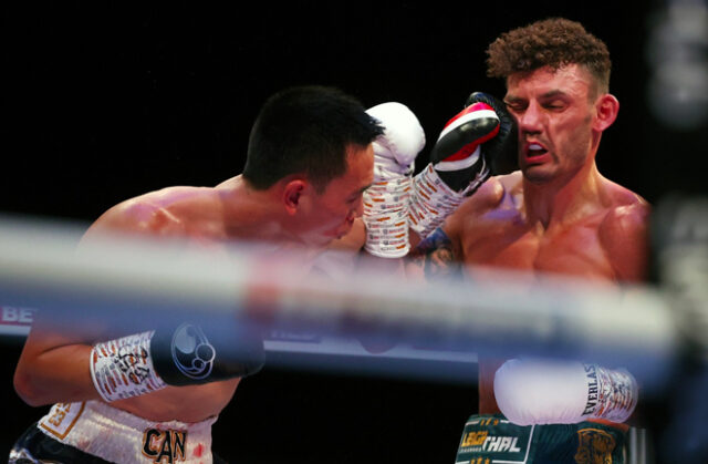 A Life-Changing performance from Leigh Wood saw him overcome Xu Can to become the new WBA World Featherweight Champion last night at Matchroom HQ. Photo Credit: Matchroom Boxing.