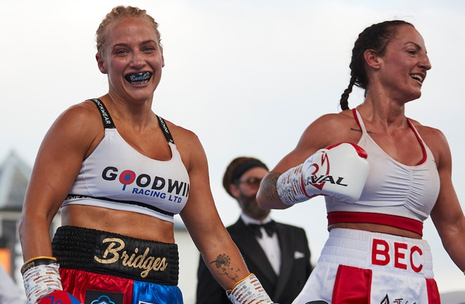 Ebanie Bridges stopped Bec Connolly at Fight Camp Photo Credit: Mark Robinson/Matchroom Boxing