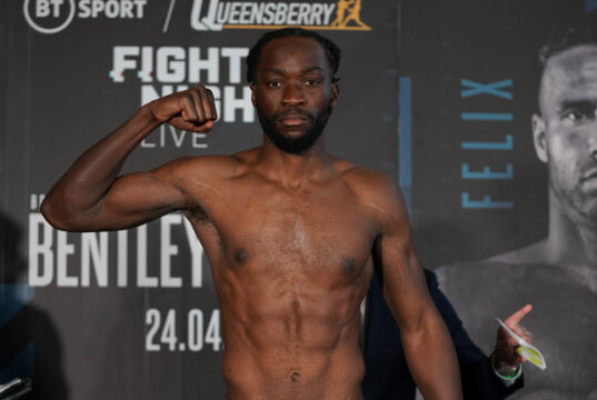 Denzel Bentley is determined to come back stronger after his loss to Felix Cash Photo Credit: Queensberry Promotions