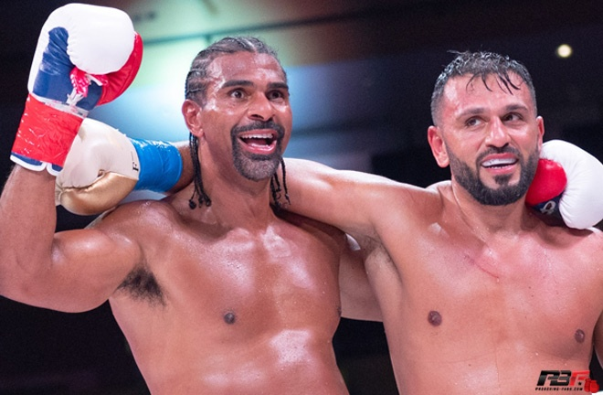 Haye and Fournier embrace after their fight Photo Credit: Pro Boxing Fans