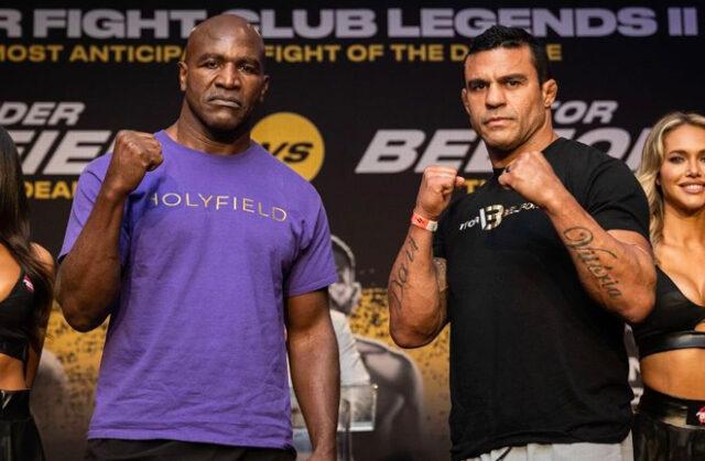 Evander Holyfield, 58, will face Vitor Belfort, 44, in Florida tonight. Photo Credit: Amanda Westcott, Triller Fight Club