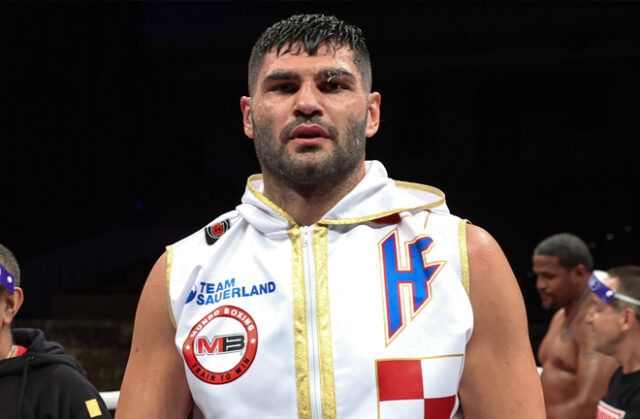 Light-work for Filip Hrgovic as he put in a 5-star performance against Marko Radonjic forcing him to retire after three one-sided rounds where he was dropped five times in total. Photo Credit: Matchroom Boxing