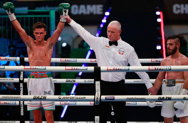 Hopey Price picked up his fifth win at Fight Camp Photo Credit: Ian Walton/Matchroom Boxing