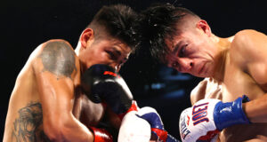 Emanuel Navarrete defended the WBO featherweight title for the second time, as the Mexican took a bruising points win over Joet Gonzalez at the Pechanga Arena in San Diego. Photo Credit: Top Rank Boxing (Twitter).