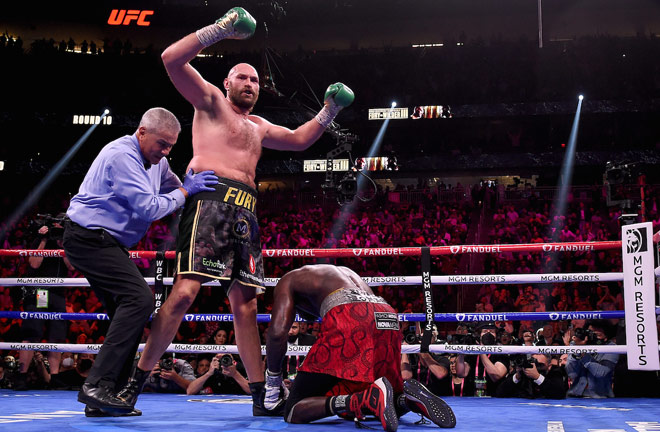 Tyson Fury knocked out Deontay Wilder in the eleventh round of their breathless world heavyweight title clash in Las Vegas on Saturday Photo Credit: Frank Micelotta/Fox Sports/PictureGroup