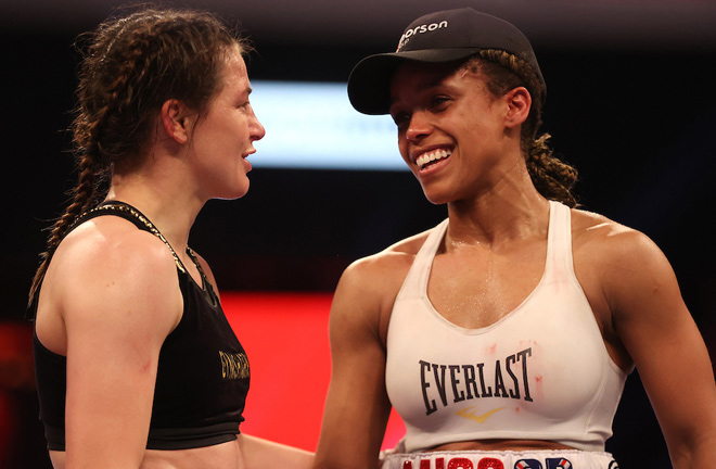 Natasha Jonas came up short in a thrilling bid to dethrone undisputed lightweight champion, Katie Taylor in May Photo Credit: Mark Robinson/Matchroom Boxing