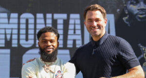 Montana Love alongside Eddie Hearn after signing a multi-fight promotional deal with Matchroom Photo Credit: Ed Mulholland/Matchroom