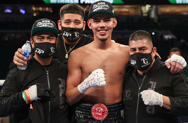 Pacheco celebrates victory on the undercard of Canelo vs Yildirim in February Photo Credit: Ed Mulholland/Matchroom