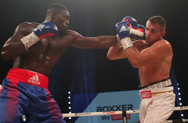 Riakporhe picked up eight rounds on his return to action after almost 22 months out Photo Credit: Lawrence Lustig/BOXXER