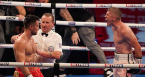 Liam Smith celebrates after beating Anthony Fowler in Liverpool on Saturday Photo Credit: Dave Thompson/Matchroom Boxing