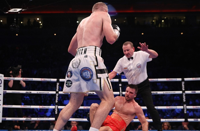 Smith dropped Fowler again in the eighth and the fight was stopped Photo Credit: Mark Robinson/Matchroom Boxing