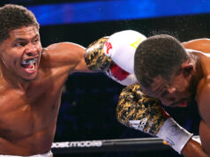 Shakur Stevenson claims the WBO super featherweight title with a tenth round stoppage over Jamel Herring at the State Farm Arena in Georgia, Atlanta last night. Photo Credit: Top Rank Boxing (Twitter).